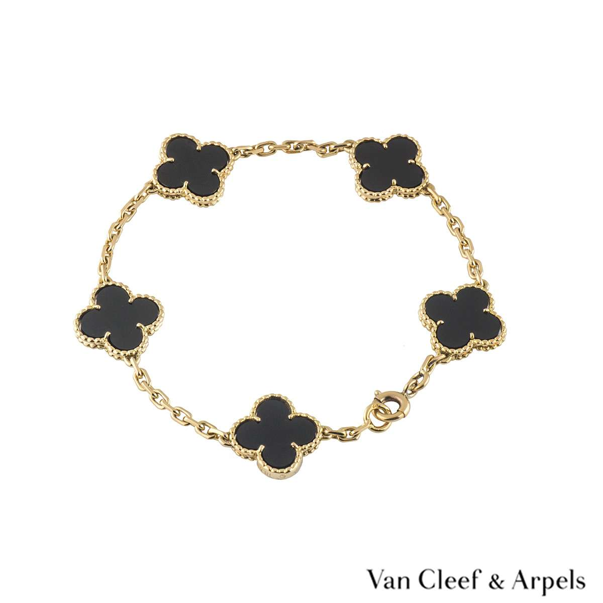 Van Cleef & Arpels Yellow Gold Onyx Alhambra Bracelet